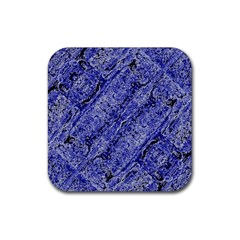 Texture Blue Neon Brick Diagonal Rubber Square Coaster (4 Pack)