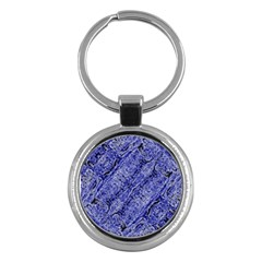 Texture Blue Neon Brick Diagonal Key Chains (round)