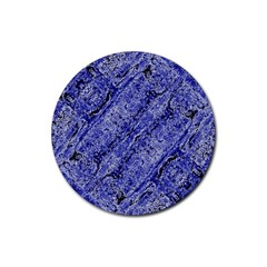 Texture Blue Neon Brick Diagonal Rubber Round Coaster (4 Pack)