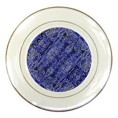 Texture Blue Neon Brick Diagonal Porcelain Plates