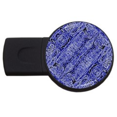 Texture Blue Neon Brick Diagonal Usb Flash Drive Round (4 Gb)