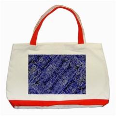 Texture Blue Neon Brick Diagonal Classic Tote Bag (red)