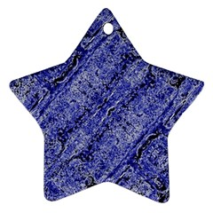 Texture Blue Neon Brick Diagonal Star Ornament (two Sides)