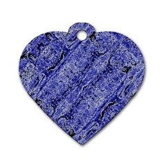 Texture Blue Neon Brick Diagonal Dog Tag Heart (two Sides)