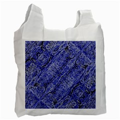 Texture Blue Neon Brick Diagonal Recycle Bag (Two Side)