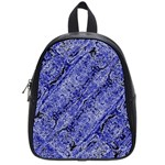 Texture Blue Neon Brick Diagonal School Bags (Small)  Front