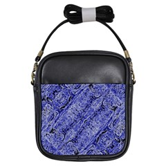Texture Blue Neon Brick Diagonal Girls Sling Bags
