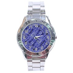 Texture Blue Neon Brick Diagonal Stainless Steel Analogue Watch