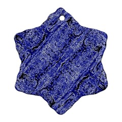 Texture Blue Neon Brick Diagonal Snowflake Ornament (two Sides)