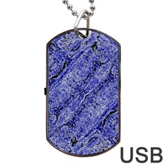 Texture Blue Neon Brick Diagonal Dog Tag Usb Flash (one Side)