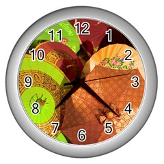 Umbrellas Parasols Design Rain Wall Clocks (silver)