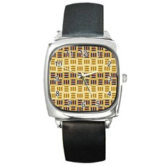 Textile Texture Fabric Material Square Metal Watch