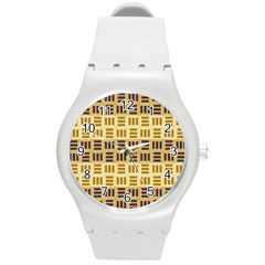Textile Texture Fabric Material Round Plastic Sport Watch (m)