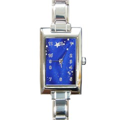 The Substance Blue Fabric Stars Rectangle Italian Charm Watch