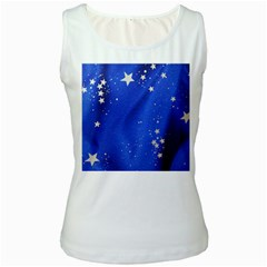 The Substance Blue Fabric Stars Women s White Tank Top