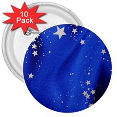 The Substance Blue Fabric Stars 3  Buttons (10 Pack)