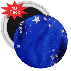 The Substance Blue Fabric Stars 3  Magnets (10 Pack)