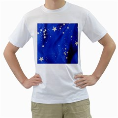 The Substance Blue Fabric Stars Men s T Shirt (white) (two Sided)
