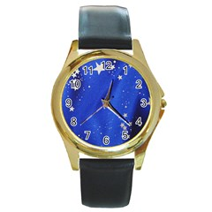 The Substance Blue Fabric Stars Round Gold Metal Watch