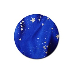 The Substance Blue Fabric Stars Rubber Coaster (round)