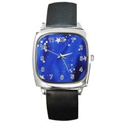 The Substance Blue Fabric Stars Square Metal Watch
