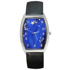 The Substance Blue Fabric Stars Barrel Style Metal Watch