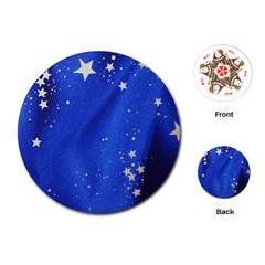The Substance Blue Fabric Stars Playing Cards (round)
