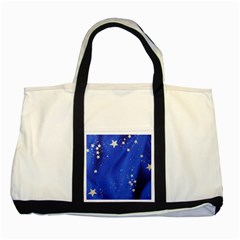 The Substance Blue Fabric Stars Two Tone Tote Bag