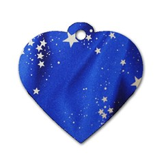 The Substance Blue Fabric Stars Dog Tag Heart (one Side)