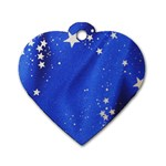 The Substance Blue Fabric Stars Dog Tag Heart (One Side) Front