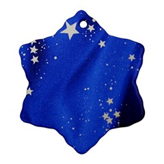 The Substance Blue Fabric Stars Snowflake Ornament (two Sides)