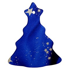 The Substance Blue Fabric Stars Christmas Tree Ornament (two Sides)