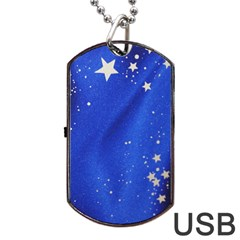 The Substance Blue Fabric Stars Dog Tag Usb Flash (one Side)