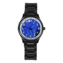 The Substance Blue Fabric Stars Stainless Steel Round Watch