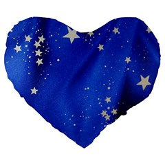 The Substance Blue Fabric Stars Large 19  Premium Flano Heart Shape Cushions