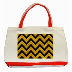 Chevron9 Black Marble & Yellow Marble (r) Classic Tote Bag (red)