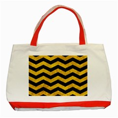 Chevron3 Black Marble & Yellow Marble Classic Tote Bag (red)