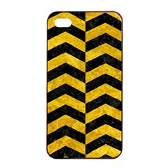 Chevron2 Black Marble & Yellow Marble Apple Iphone 4/4s Seamless Case (black)