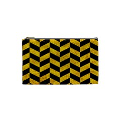 Chevron1 Black Marble & Yellow Marble Cosmetic Bag (small)
