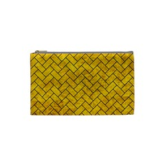 Brick2 Black Marble & Yellow Marble (r) Cosmetic Bag (small)