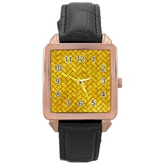 Brick2 Black Marble & Yellow Marble (r) Rose Gold Leather Watch