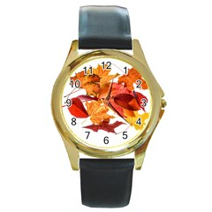 Autumn Leaves Leaf Transparent Round Gold Metal Watch
