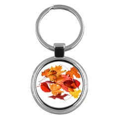 Autumn Leaves Leaf Transparent Key Chains (round)