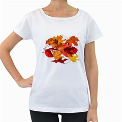Autumn Leaves Leaf Transparent Women s Loose Fit T Shirt (white)