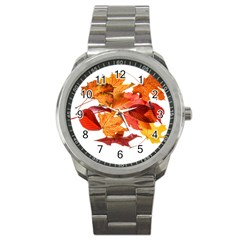 Autumn Leaves Leaf Transparent Sport Metal Watch