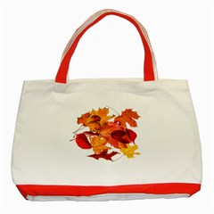Autumn Leaves Leaf Transparent Classic Tote Bag (red)