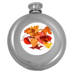 Autumn Leaves Leaf Transparent Round Hip Flask (5 Oz)