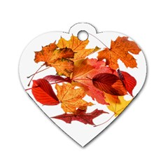 Autumn Leaves Leaf Transparent Dog Tag Heart (two Sides)