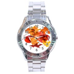 Autumn Leaves Leaf Transparent Stainless Steel Analogue Watch