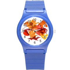 Autumn Leaves Leaf Transparent Round Plastic Sport Watch (s)